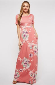 Cap Sleeve Floral Mint or Mauve Maxi Dress Style D3559 - The Skirt Boutique