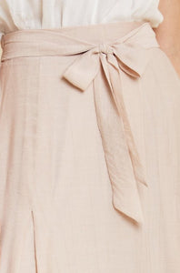 Belted Tie-Front Ruffle Blush Midi Skirt Style 7273 - The Skirt Boutique