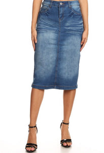 Faded Denim Pencil Skirt Style 77239 - The Skirt Boutique