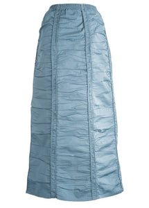 Ruched Long Denim Skirt Teal - The Skirt Boutique