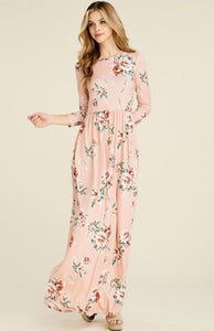 Blush Floral Maxi Dress Style 7800 - The Skirt Boutique