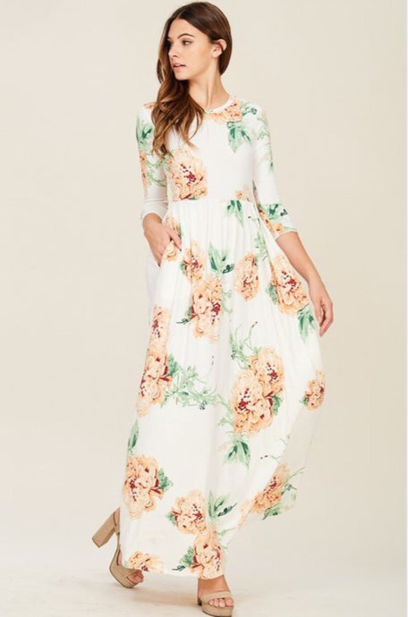 Ivory Floral Maxi Dress Style 7800 - The Skirt Boutique