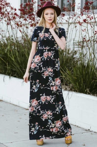 Floral Maxi Dress Style D3515 in Navy or Black - The Skirt Boutique