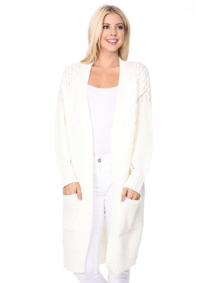 Open Front Textured Cardigan Style 9366 in White