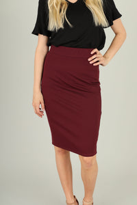 Raisin Ponte Pencil Skirt 2093 - The Skirt Boutique