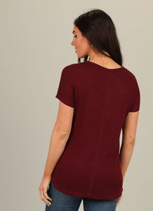 Waffle Knit Burgundy Top 201 - The Skirt Boutique