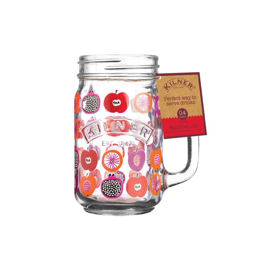 Glass Drinking Jars - Fruit Punch Pattern - Set of 4