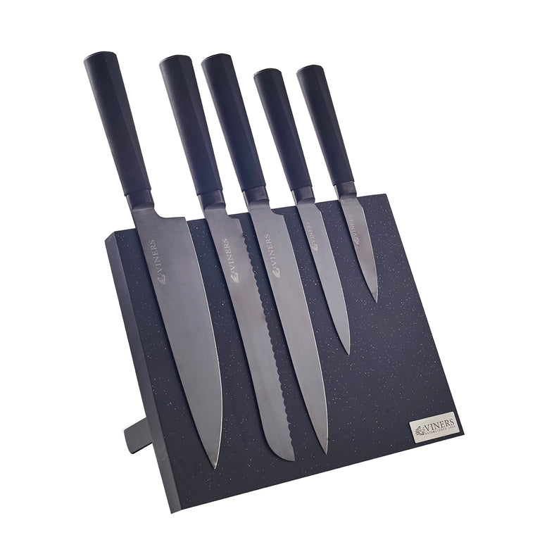 Titan Kitchen 5 Piece Knife Block Set by VINERS, Stainless Steel - December Only Offer