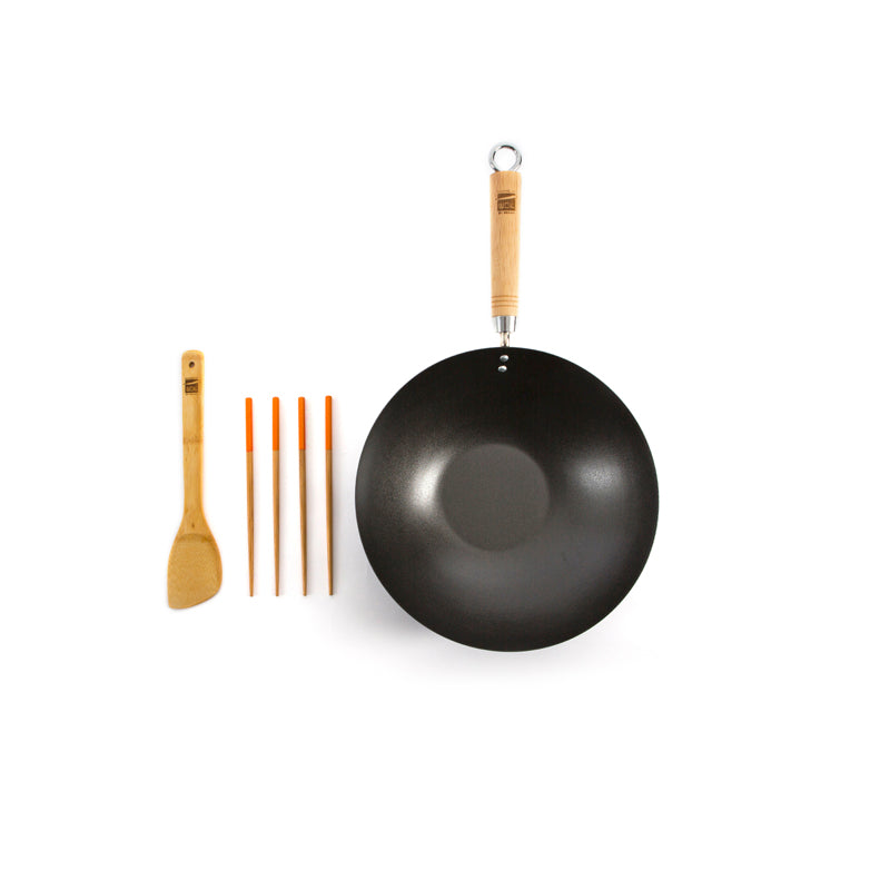 School of Wok Gift Set, including 12in Non Stick Wok, Bamboo Spatula, 2 x pairs Bamboo Chopsticks 12322023