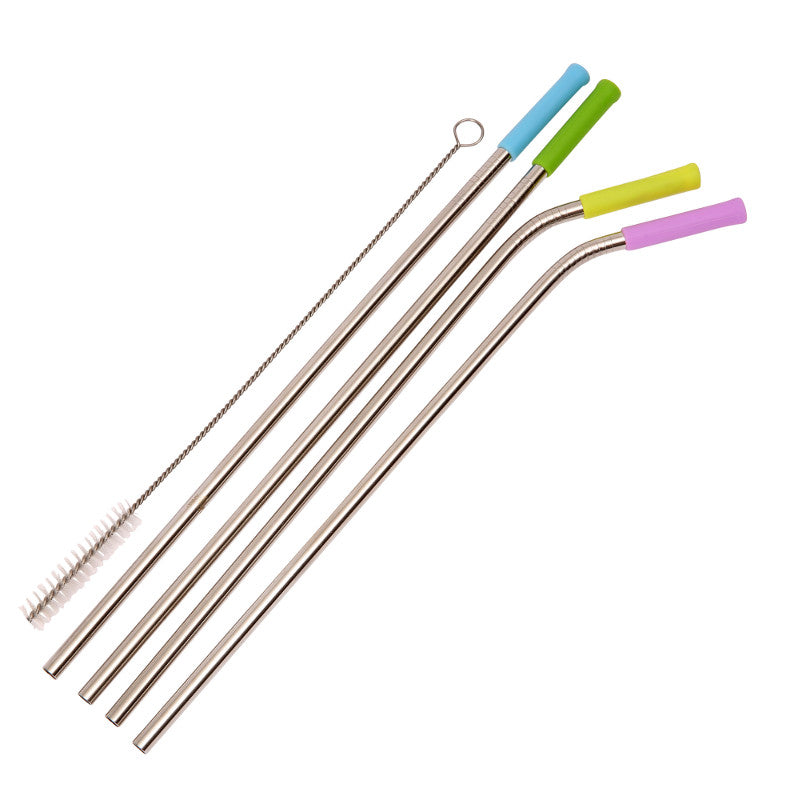 Straws Stainless Steel Set/4 with Silicone Tips and Cleaning Brush
