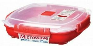 Sistema Microwave Plate (Medium) With Removable Steaming Tray Red / Clear 880ml