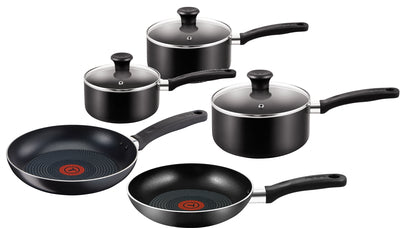 Tefal Essential 5 Piece Pan Set in Black - B372S544
