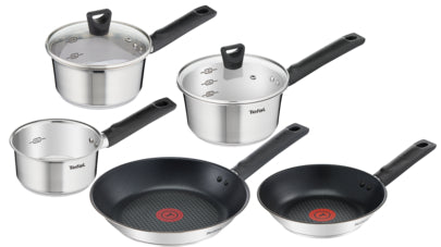 Tefal Simpleo Titanium Coated 5 Piece Pan Set, Stainless steel - B905S544