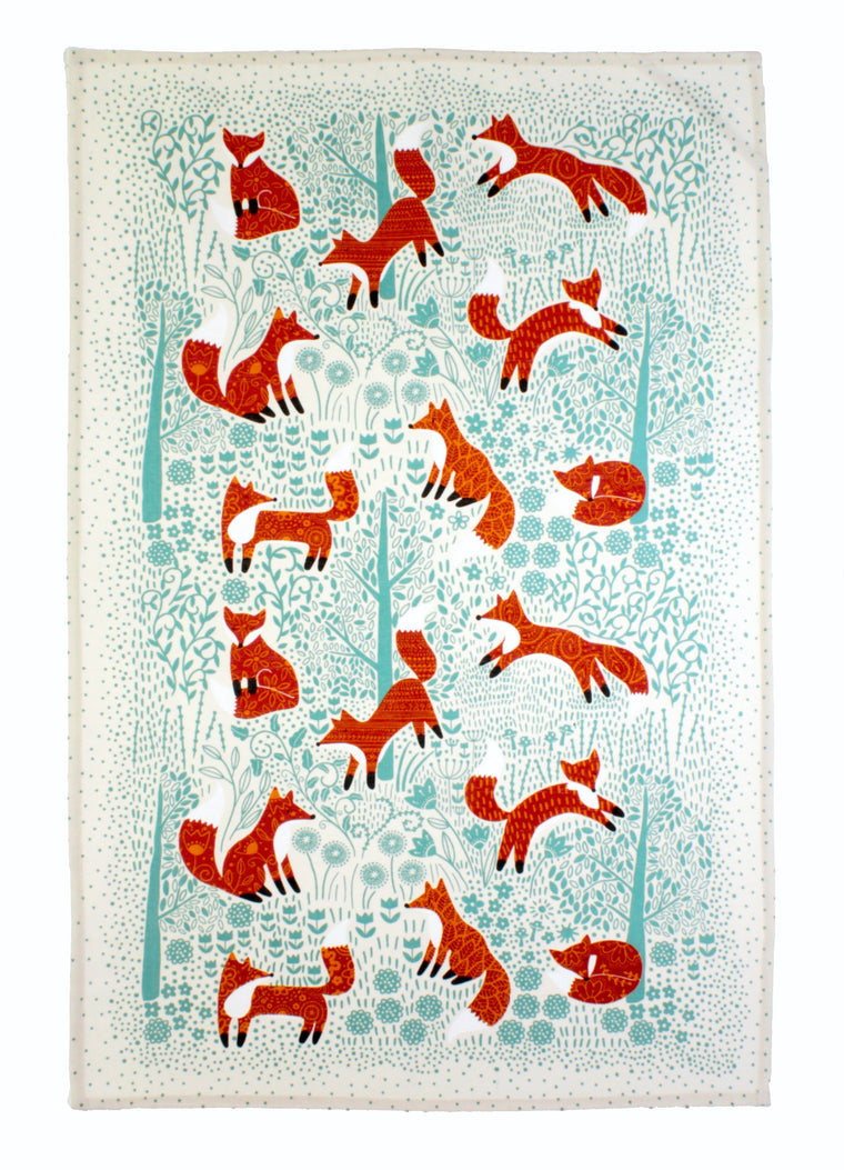 FORAGING FOX COTTON TEA TOWEL