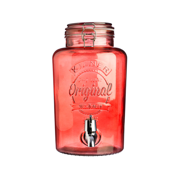 Kilner Round Clip Top Red Drinks Dispenser 5 litre