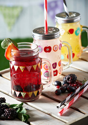 Glass Drinking Jars - Fruit Cocktail Pattern - Set of 4 - 0025.720