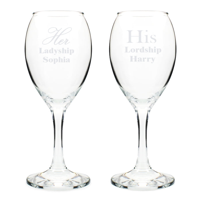 Personalised His & Hers Wine Glass Set