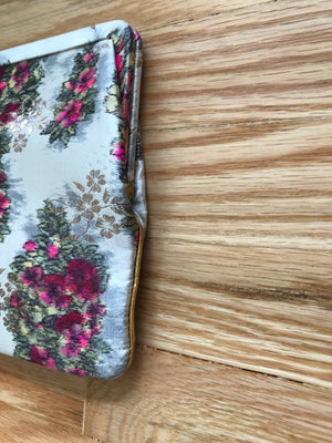 Vintage Clutch with Silk Taffeta Rose Print 1950's