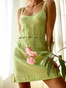 Edurne Linen Dress in Green Lime by TACH CLOTHING