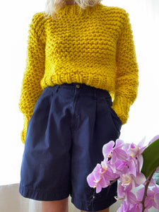BOZIDARA Hand Knit Yellow Mock Neck Sweater
