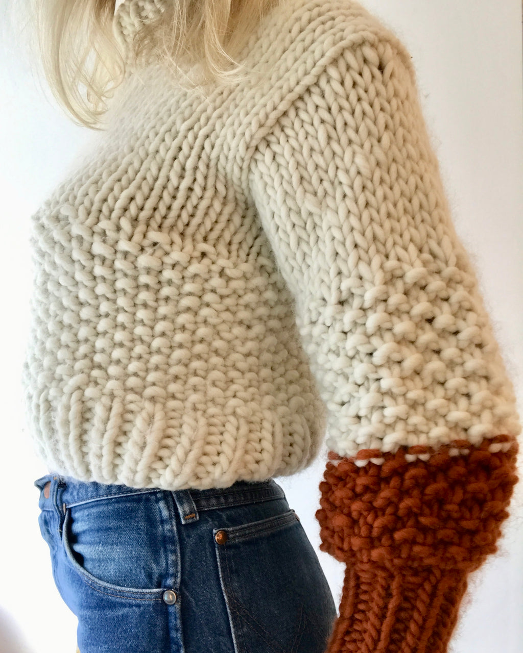 THE KNITTER Zip Zap Sweater cream and rust