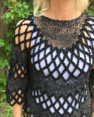 Vintage Crochet Black Poncho Top