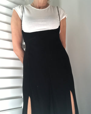 VINTAGE Donna Karan 1990's Black Matte Jersey Dress size 8