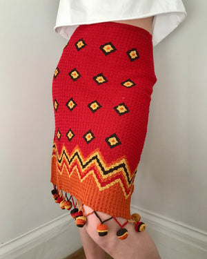 Vintage Giuliana Testino Crochet Skirt with Pom Poms 1990s