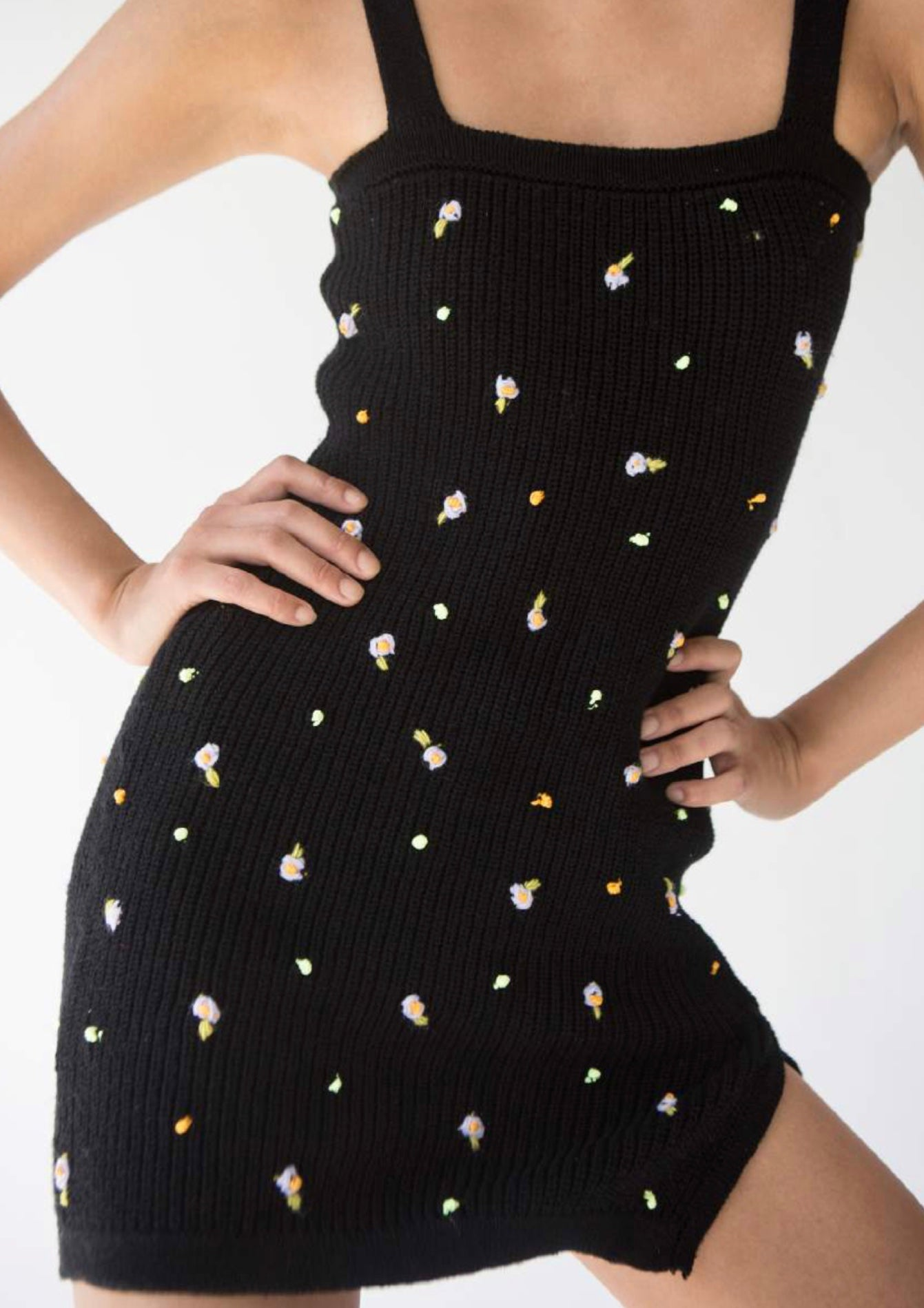 Naiara Knit Dress Black With Embroidered Flowers TACH CLOTHING