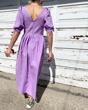 Piscis Linen Dress in Lilac by TACH CLOTHING