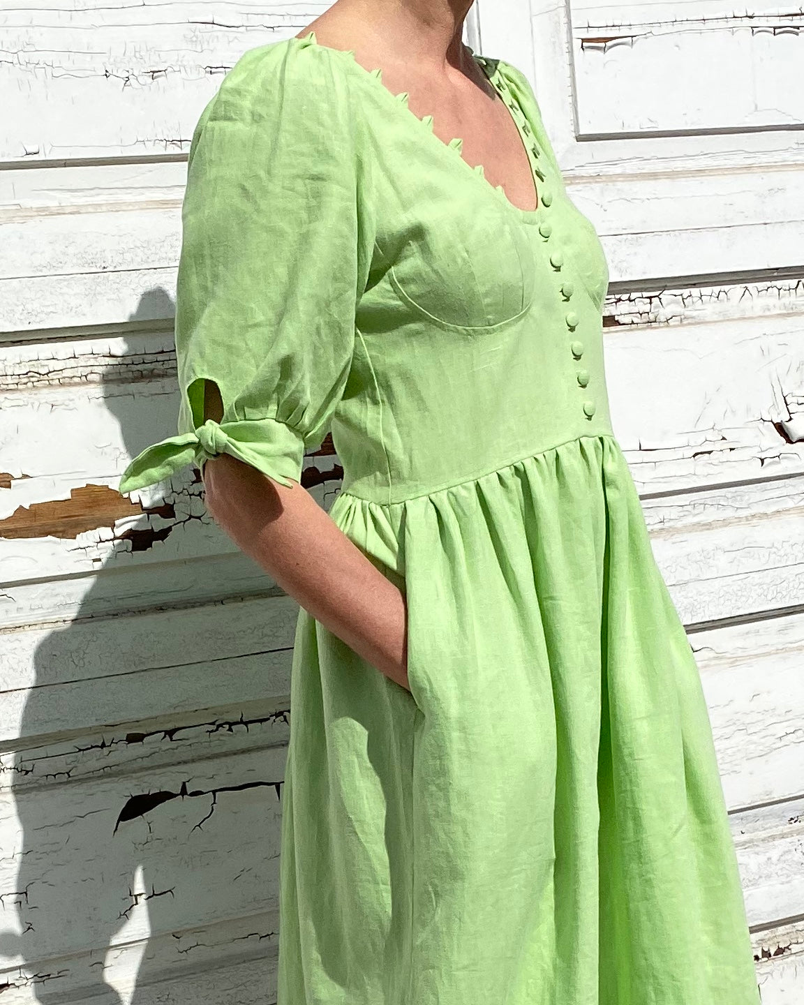 Piscis Linen Dress in Green Lime by TACH CLOTHING