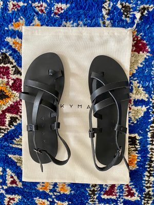 KYMA Elafonisos Black Sandals Made in Greece
