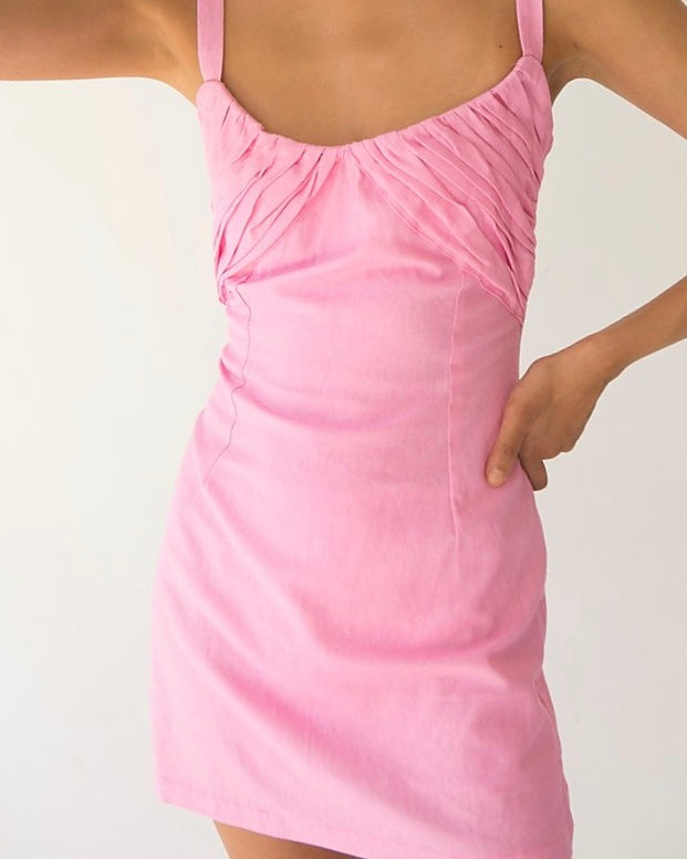Maral Linen Dress in Pink by TACH CLOTHING