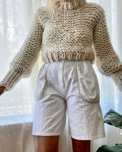 BOZIDARA Hand Knit Sweater in Cream