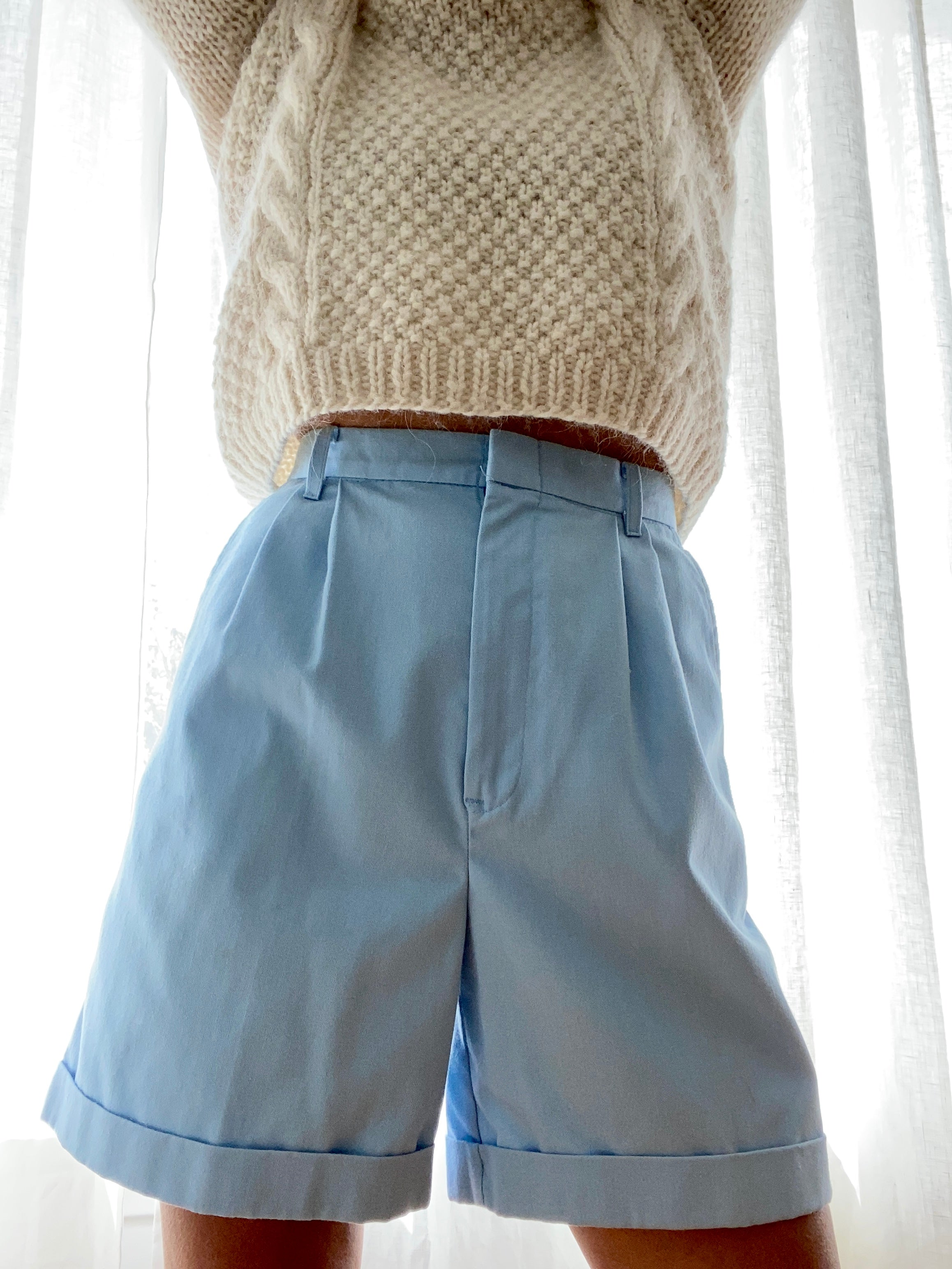 Vintage Baby Blue Trouser High Waisted Bermudas