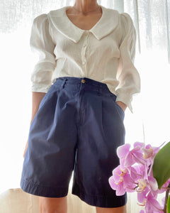 Vintage Navy Chino Pleated High Waisted Bermudas