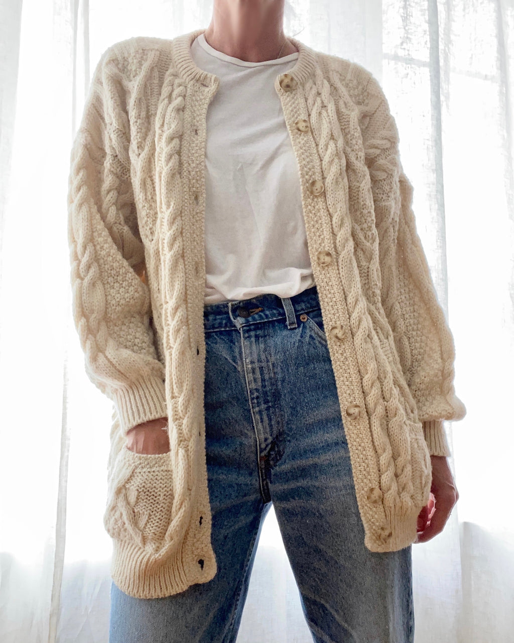 VINTAGE Cable Wool Cardigan