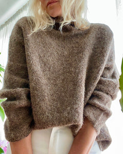 FFORM Mock Neck Boxy Sweater Brown