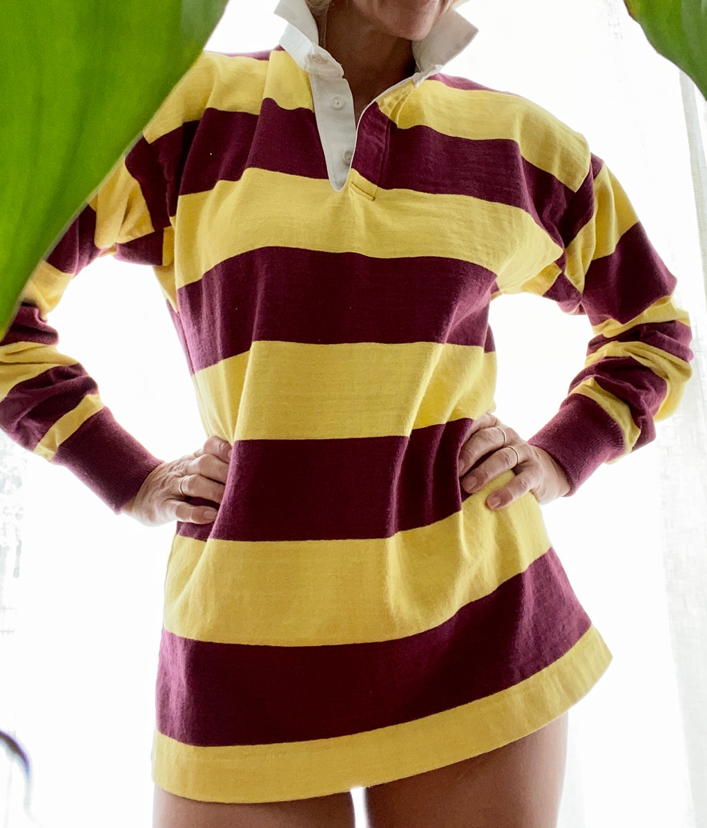 VINTAGE Rugby Polo striped Yellow and Burgundy Lands End