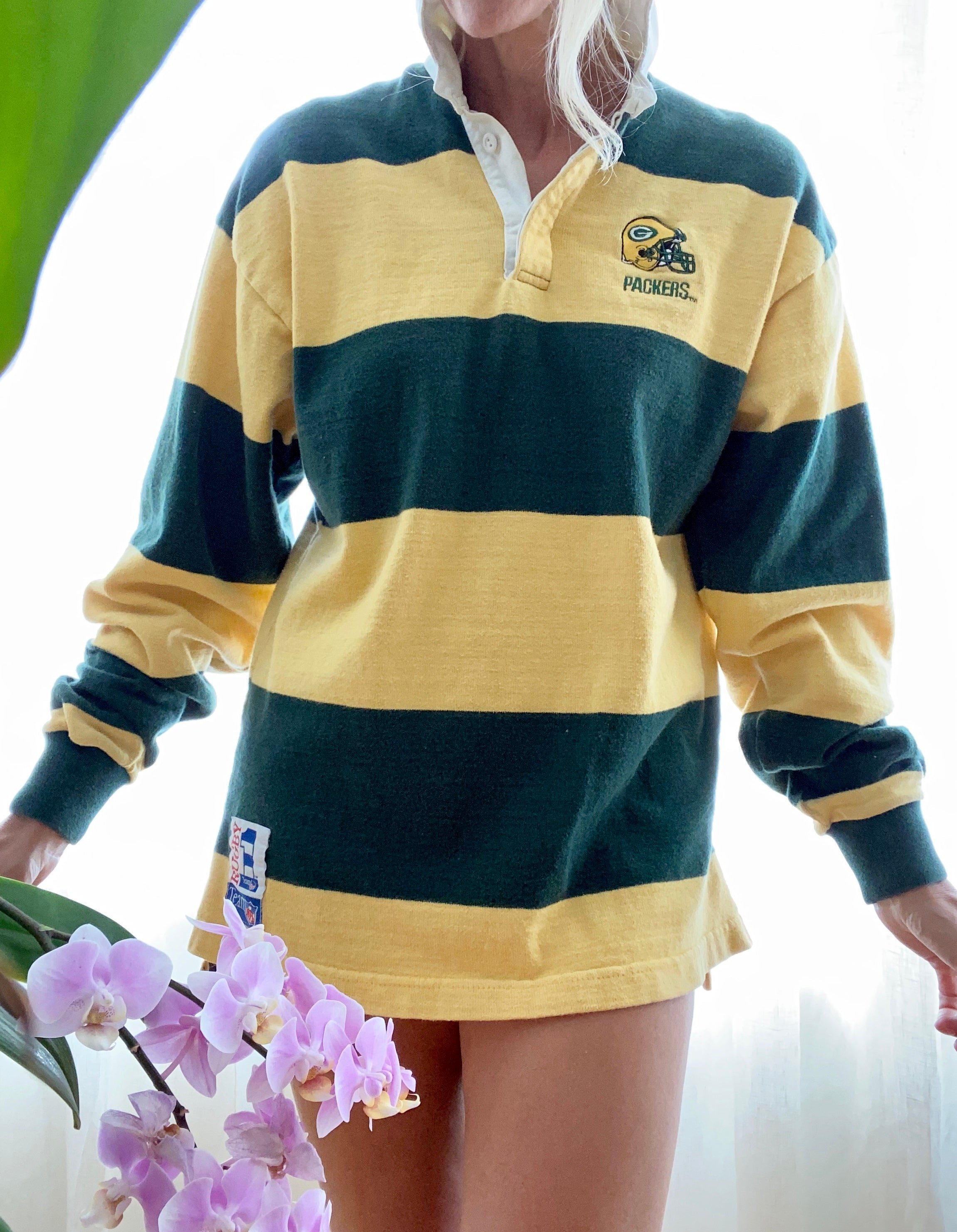 VINTAGE Rugby Polo striped Yellow and Green Packers
