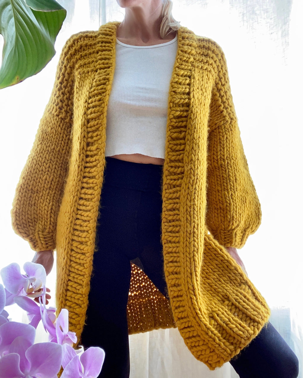 BOZIDARA Hand Knit Shoulder Detail Cardigan in Gold