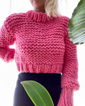 BOZIDARA Hand Knit Hot Pink Mock Neck Sweater
