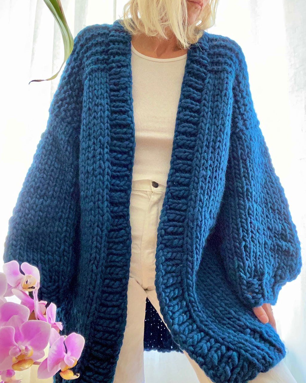 BOZIDARA Hand Knit Shoulder Detail Cardigan in Ocean Blue
