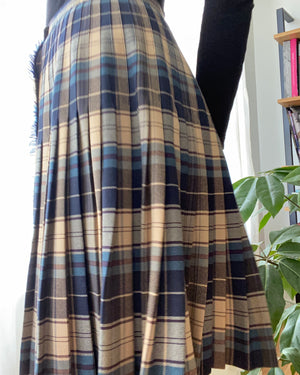 Vintage Wrap Tartan Blue Pleated Kilt