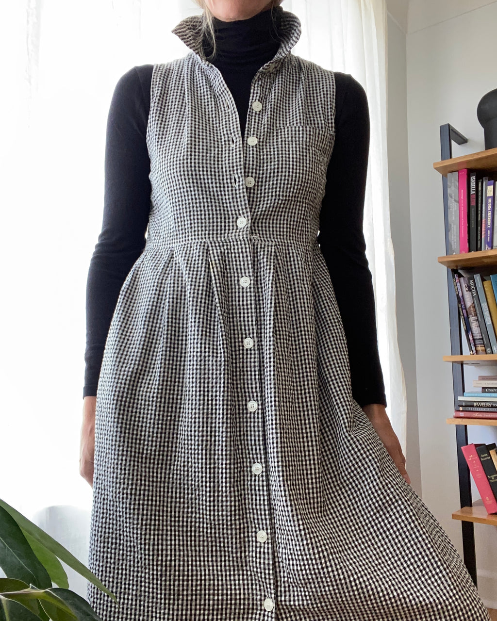 VINTAGE 90's Black and White Gingham Dress