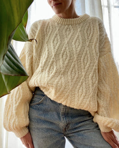 Vintage Diamond Cable Sweater with Bell Sleeves