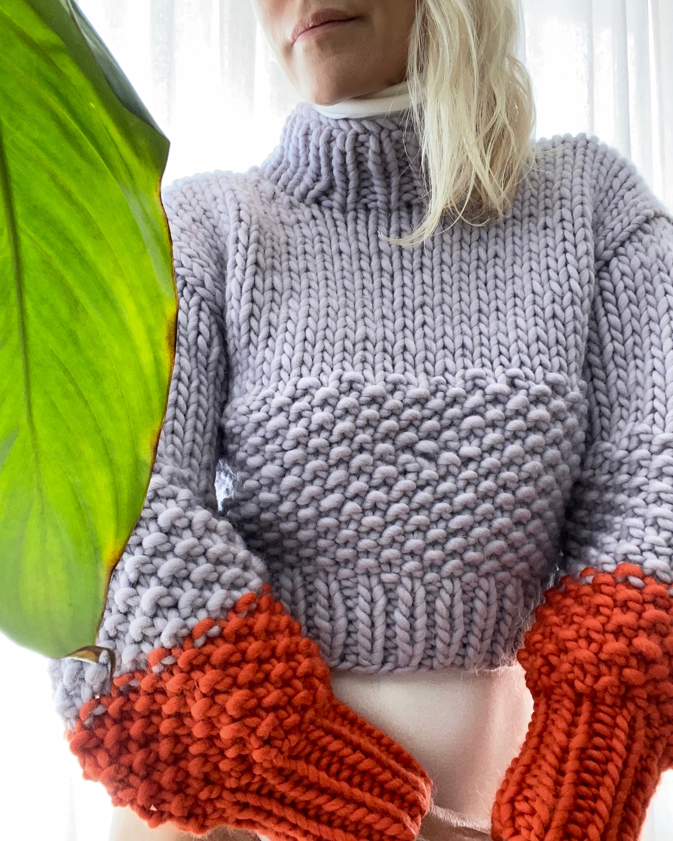 THE KNITTER Zip Zap Sweater Lilac and Mandarin