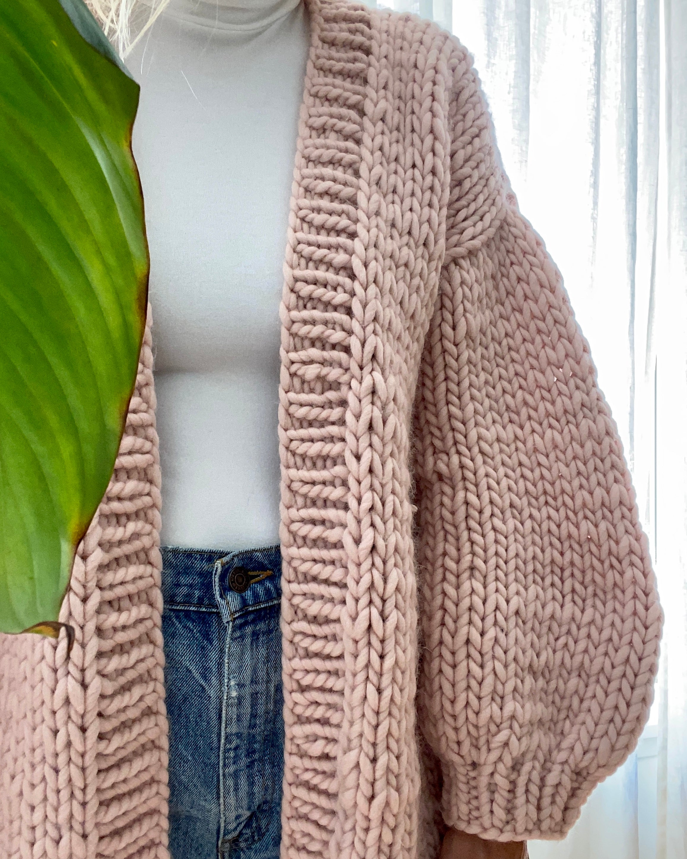 BOZIDARA Hand Knit Classic Cardigan in Light Pink with Bell Sleeves
