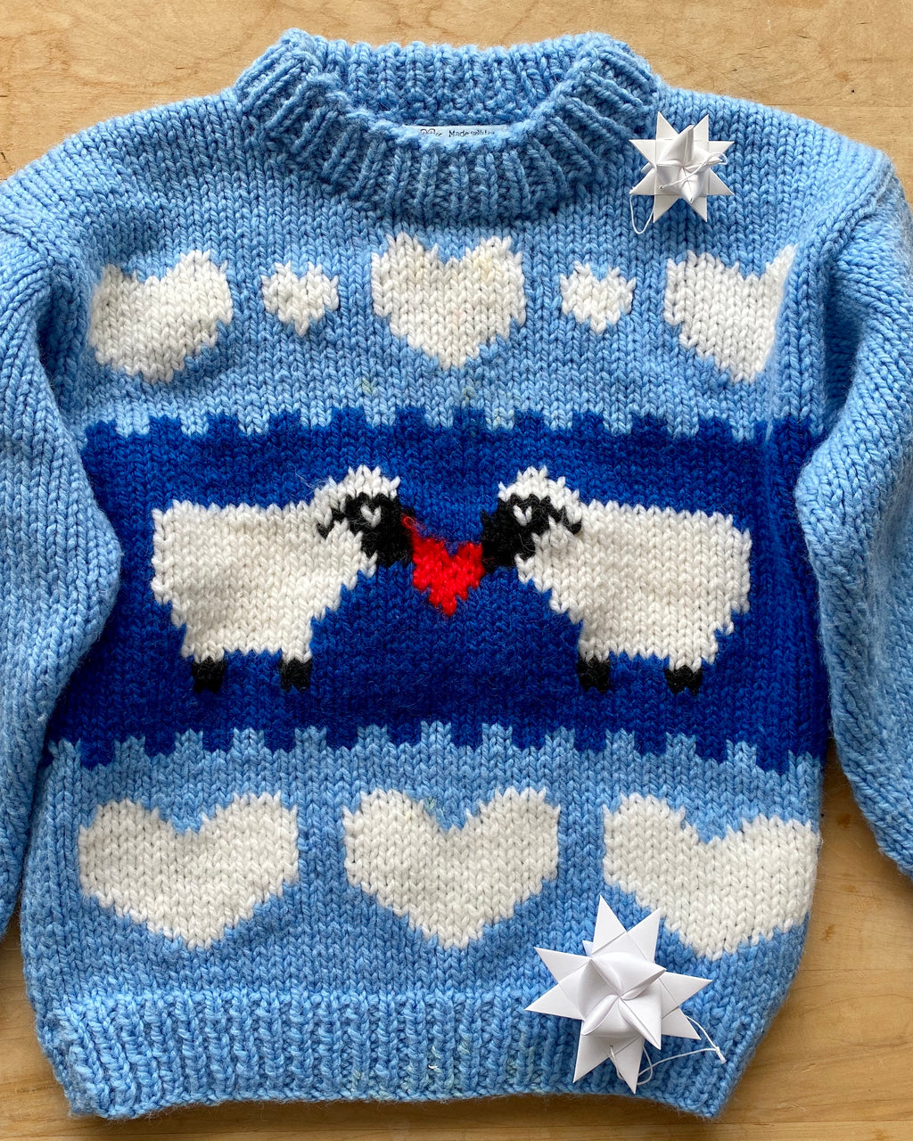 Handknit Lambs in Love Sweater Toddler