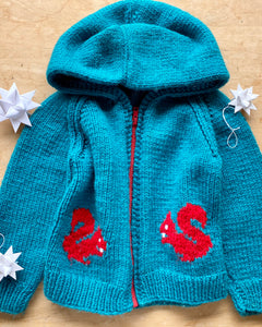 Handknit Squirrel Bowling Cardigan with Hood Toddler